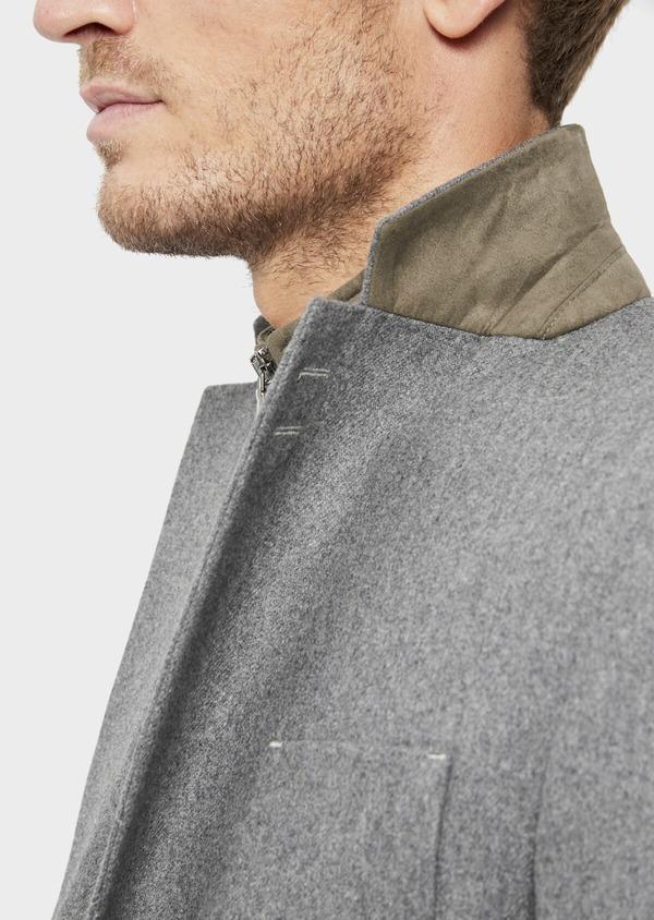 Veste casual Regular en flanelle grise avec parementure vert kaki amovible - Father and Sons 36231
