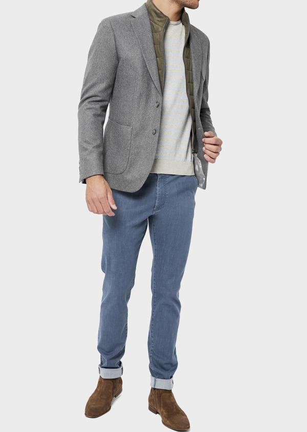 Veste casual Regular en flanelle grise avec parementure vert kaki amovible - Father and Sons 36229