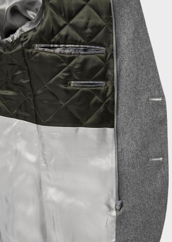 Veste casual Regular en flanelle grise avec parementure vert kaki amovible - Father and Sons 36233