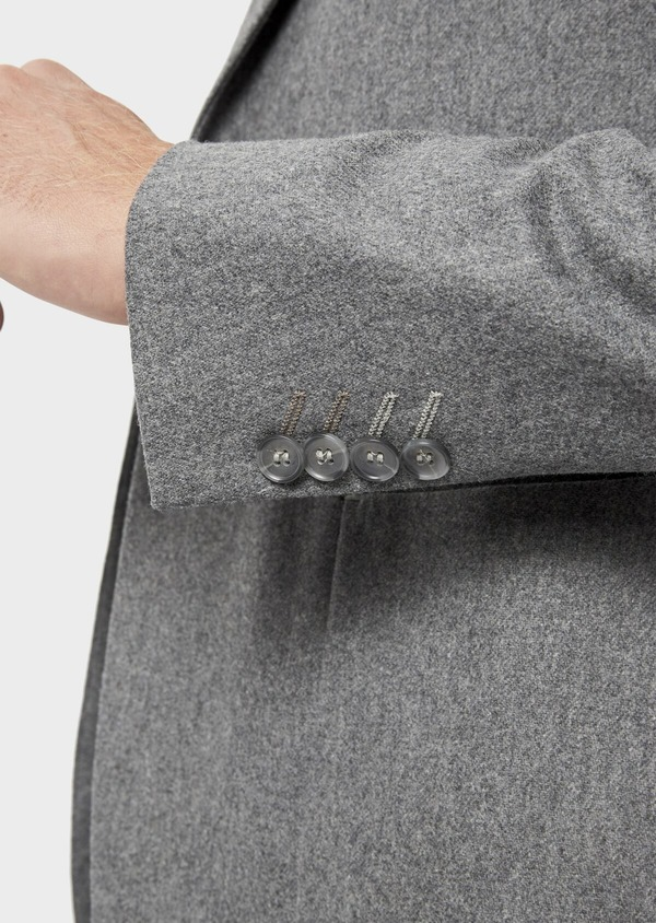 Veste casual Regular en flanelle grise avec parementure vert kaki amovible - Father and Sons 36232