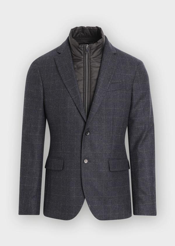 Veste coordonnable Regular en laine mélangée à carreaux gris - Father and Sons 35528