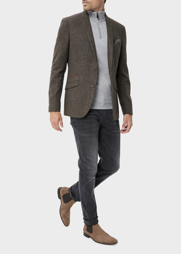 Veste casual Regular en laine mélangée unie marron - Father and Sons 35532