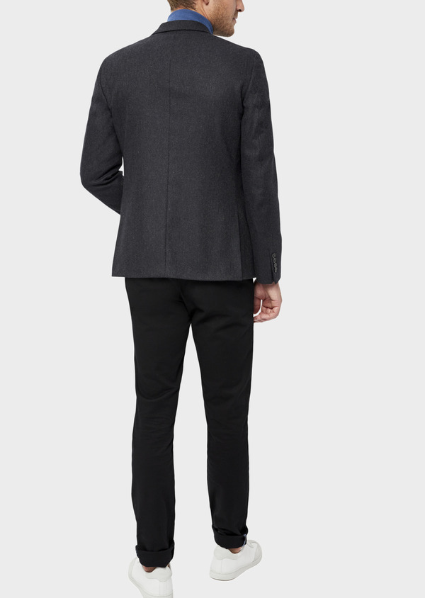 Veste casual Slim en laine mélangée unie gris anthracite - Father and Sons 36240