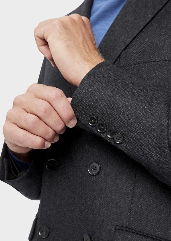 Veste casual Slim en laine mélangée unie gris anthracite - Father and Sons 36242
