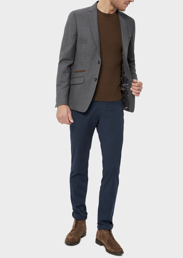 Veste casual Slim en laine mélangée grise Prince de Galles - Father and Sons 36253
