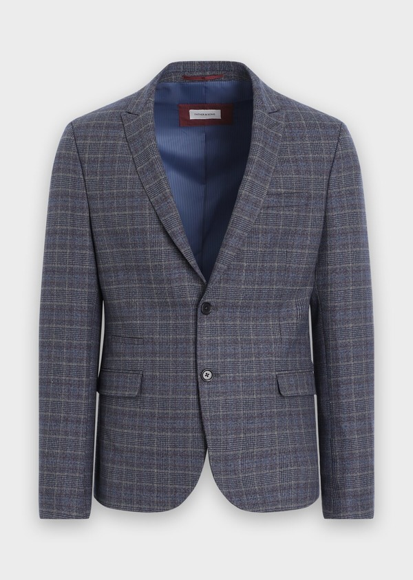 Veste coordonnable Slim bleu indigo Prince de Galles - Father and Sons 35512