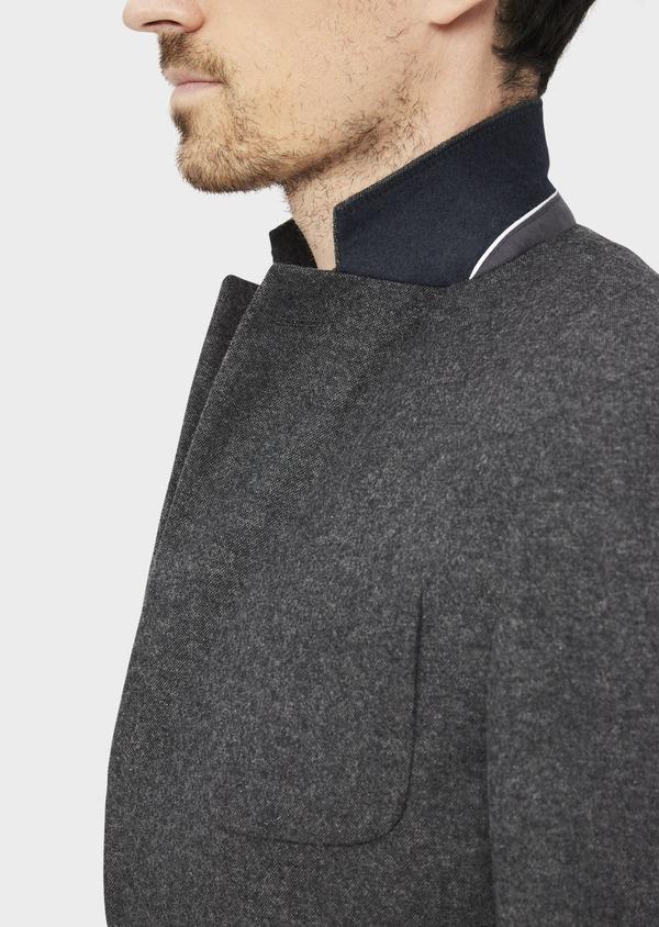 Veste casual Slim en flanelle gris anthracite avec parementure bleue amovible - Father and Sons 36856