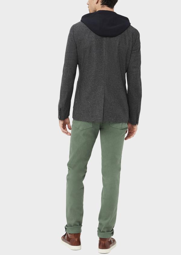 Veste casual Slim en flanelle gris anthracite avec parementure bleue amovible - Father and Sons 36855