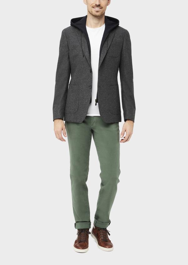 Veste casual Slim en flanelle gris anthracite avec parementure bleue amovible - Father and Sons 36854