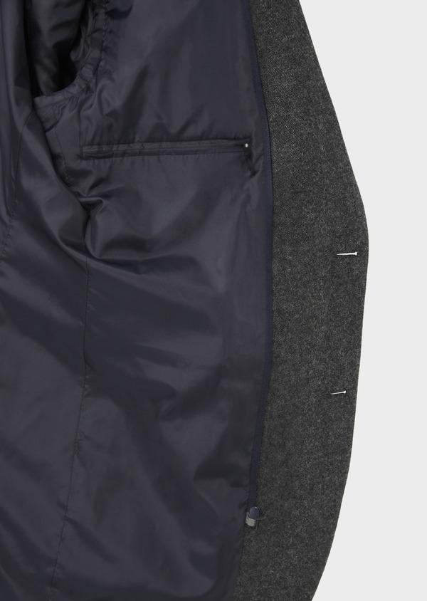 Veste casual Slim en flanelle gris anthracite avec parementure bleue amovible - Father and Sons 36858