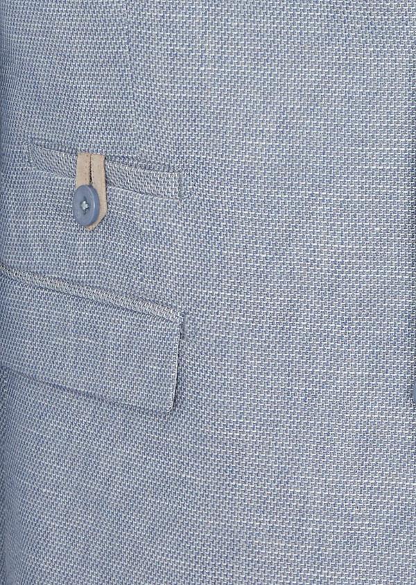 Veste coordonnable Slim en coton et lin uni bleu chambray - Father and Sons 38901