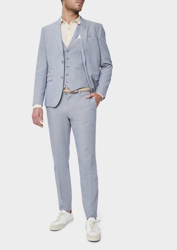 Veste coordonnable Slim en coton et lin uni bleu chambray - Father and Sons 38902