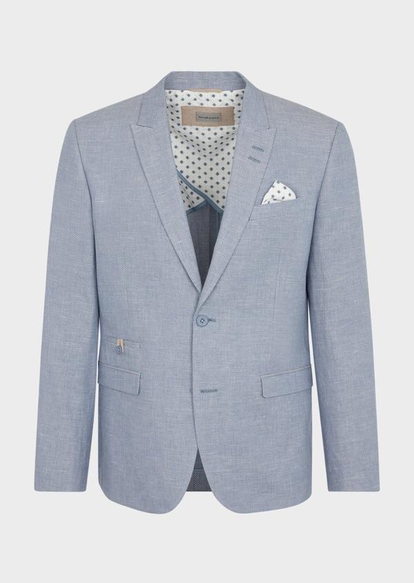 Veste coordonnable Slim en coton et lin uni bleu chambray - Father and Sons 38900