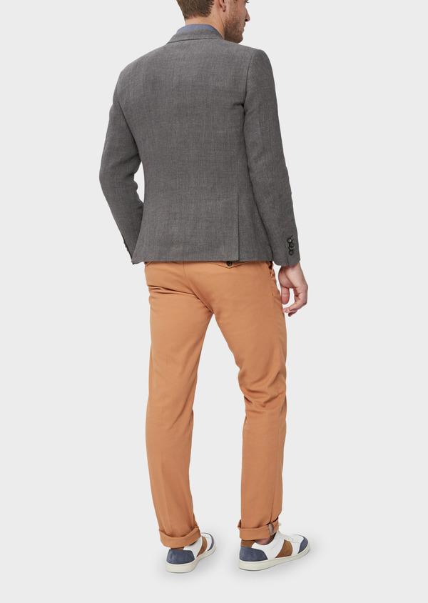 Veste casual Slim en lin et coton uni gris anthracite - Father and Sons 38930