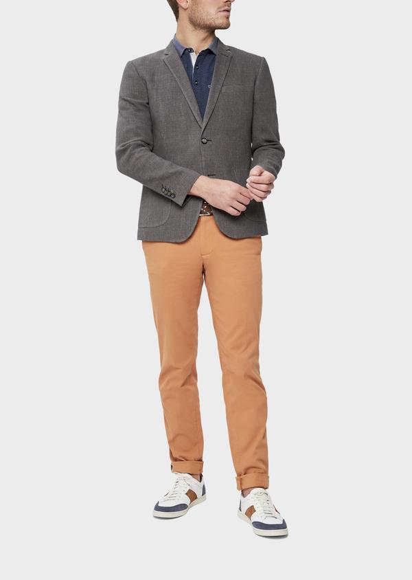 Veste casual Slim en lin et coton uni gris anthracite - Father and Sons 38929