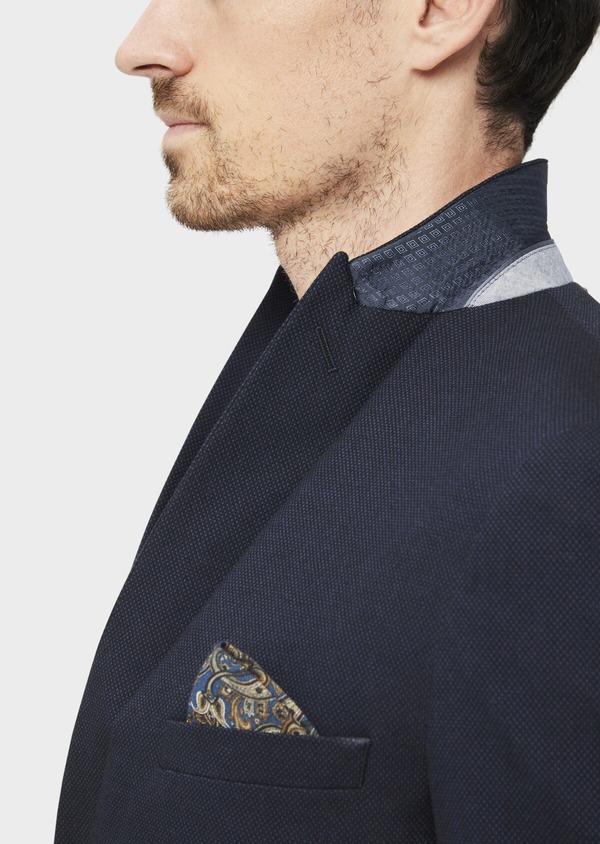 Veste coordonnable Slim en coton mélangé à pois bleu marine - Father and Sons 36842