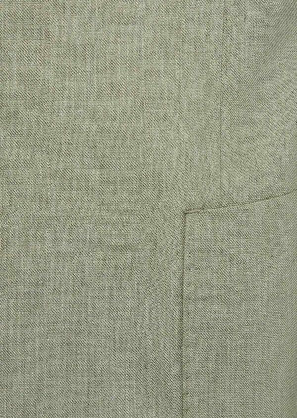 Veste coordonnable Slim en lin et coton uni vert kaki - Father and Sons 38894