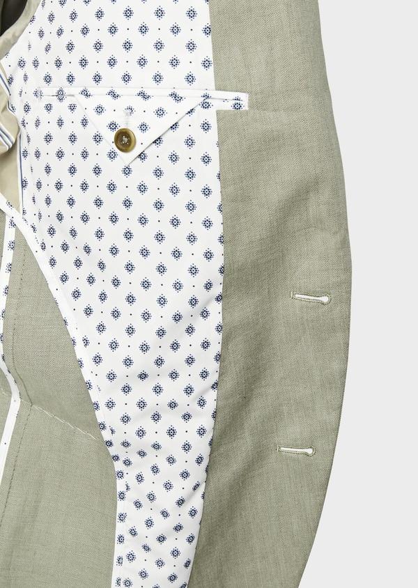Veste coordonnable Slim en lin et coton uni vert kaki - Father and Sons 38899