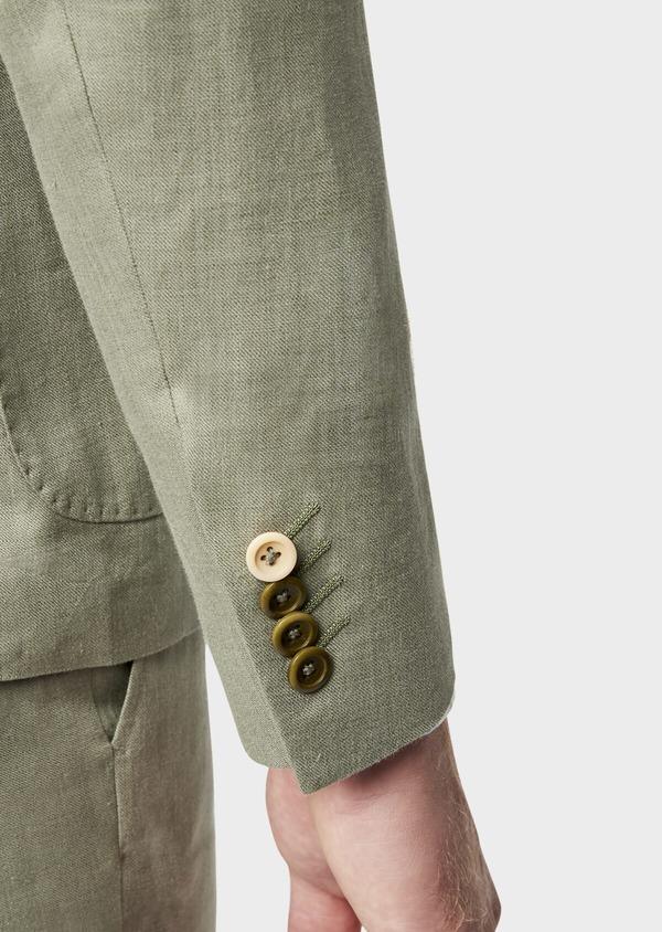 Veste coordonnable Slim en lin et coton uni vert kaki - Father and Sons 38898