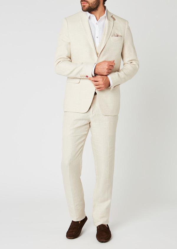 Veste coordonnable Regular en lin beige - Father and Sons 20257