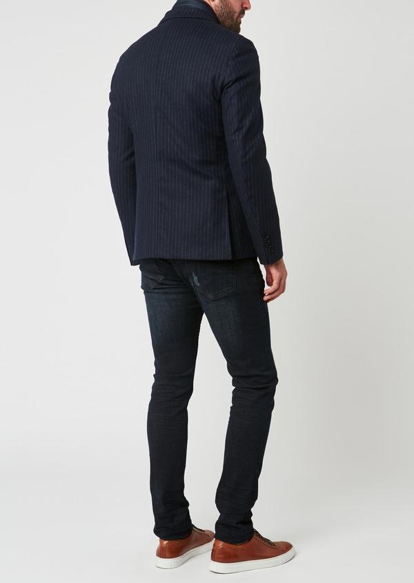 Veste coordonnable Regular en laine rayée bleu marine - Father and Sons 28184