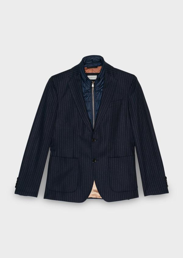 Veste coordonnable Regular en laine rayée bleu marine - Father and Sons 28181