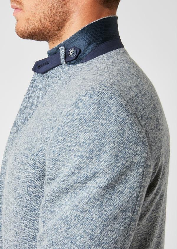 Veste casual Regular en coton façonné uni bleu - Father and Sons 27148