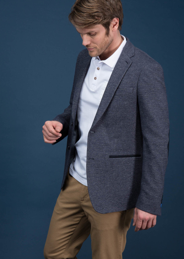 Veste casual regular en coton mélangé uni bleu - Father and Sons 18706