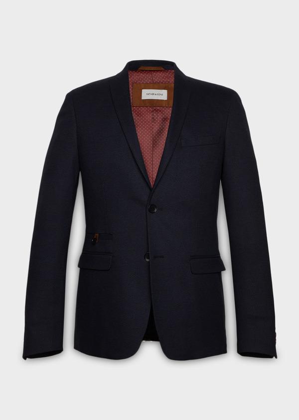 Veste coordonnable Slim en coton façonné uni bleu - Father and Sons 27164
