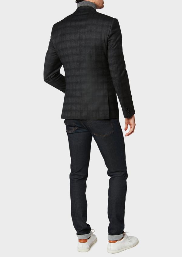 Veste casual Slim en laine gris anthracite Prince de Galles - Father and Sons 31534