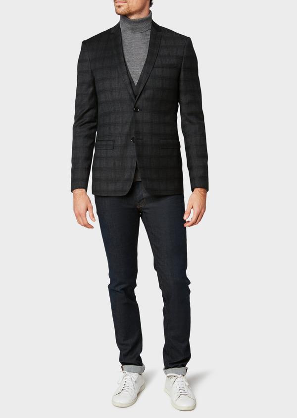 Veste casual Slim en laine gris anthracite Prince de Galles - Father and Sons 31533