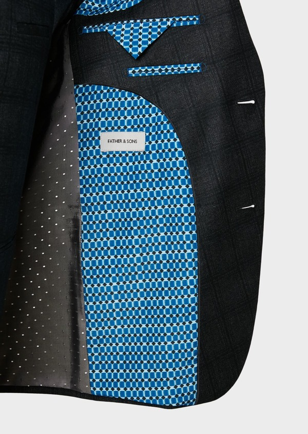 Veste casual Slim en laine gris anthracite Prince de Galles - Father and Sons 31537