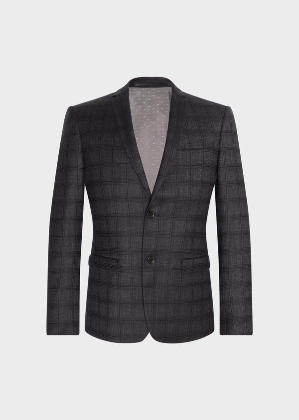 Veste casual Slim en laine gris anthracite Prince de Galles - Father and Sons 31531