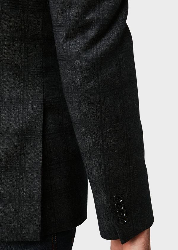 Veste casual Slim en laine gris anthracite Prince de Galles - Father and Sons 31536