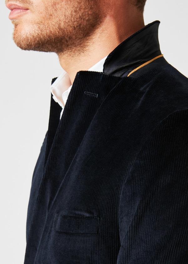 Veste coordonnable Slim en velours côtelé uni bleu marine - Father and Sons 27170