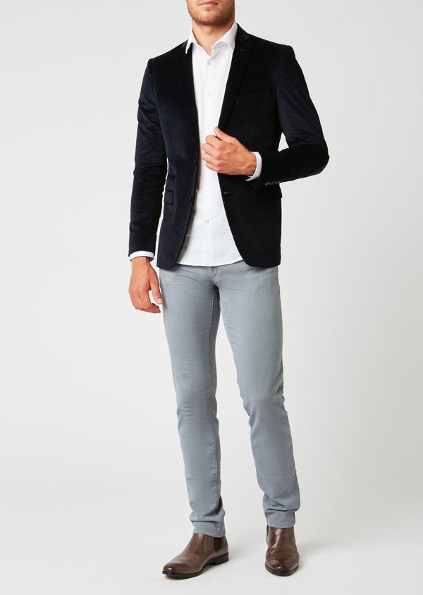Veste coordonnable Slim en velours côtelé uni bleu marine - Father and Sons 27168