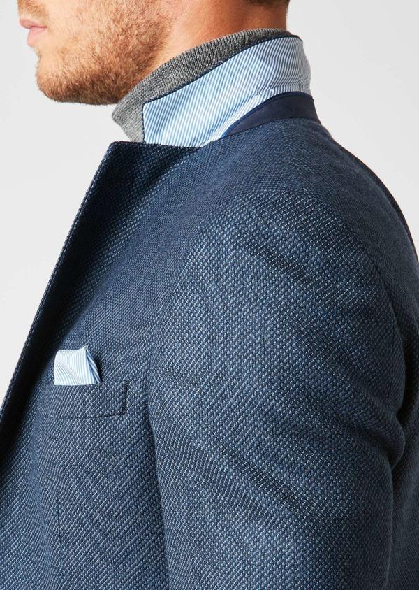 Veste casual Slim en laine façonnée uni bleu - Father and Sons 27158