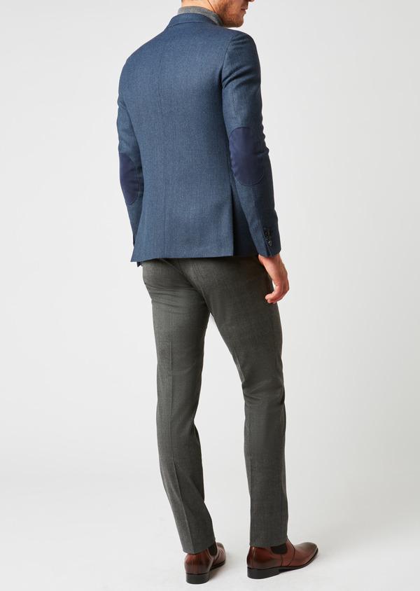 Veste casual Slim en laine façonnée uni bleu - Father and Sons 27157