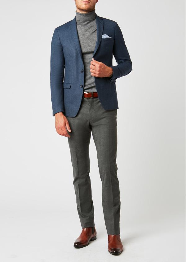 Veste casual Slim en laine façonnée uni bleu - Father and Sons 27156