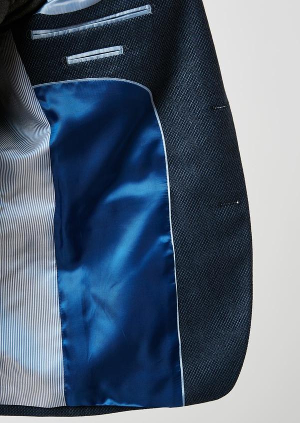 Veste casual Slim en laine façonnée uni bleu - Father and Sons 27160