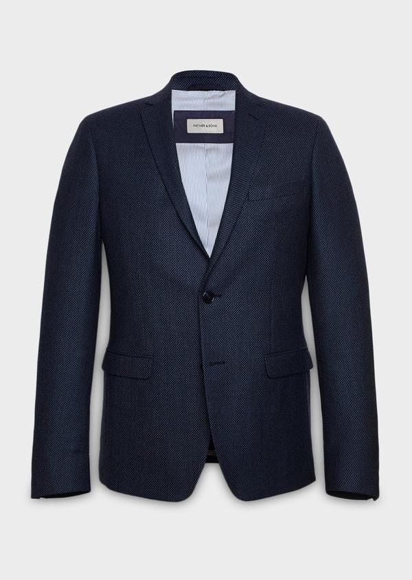 Veste casual Slim en laine façonnée uni bleu - Father and Sons 27154