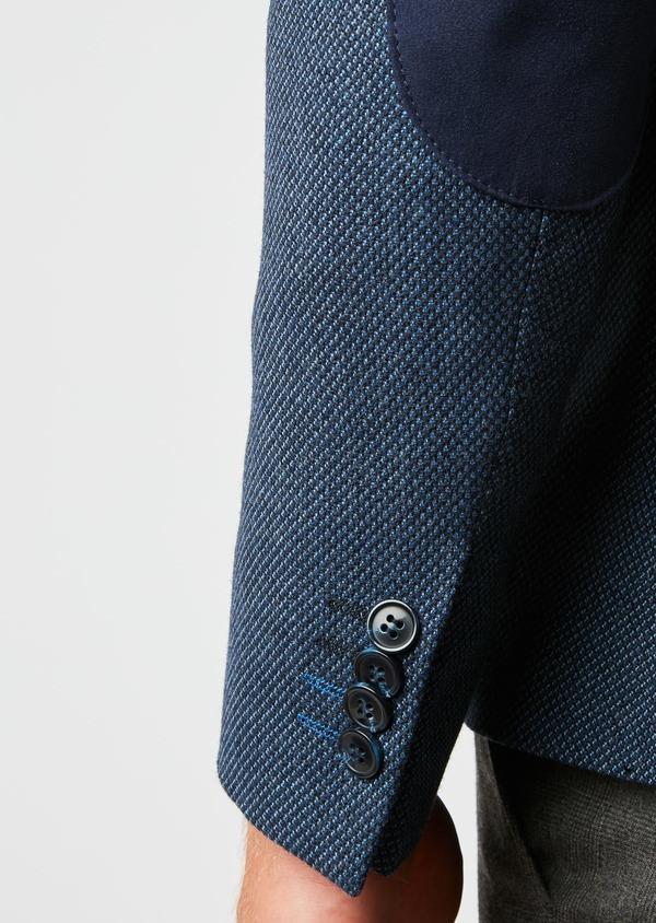 Veste casual Slim en laine façonnée uni bleu - Father and Sons 27159