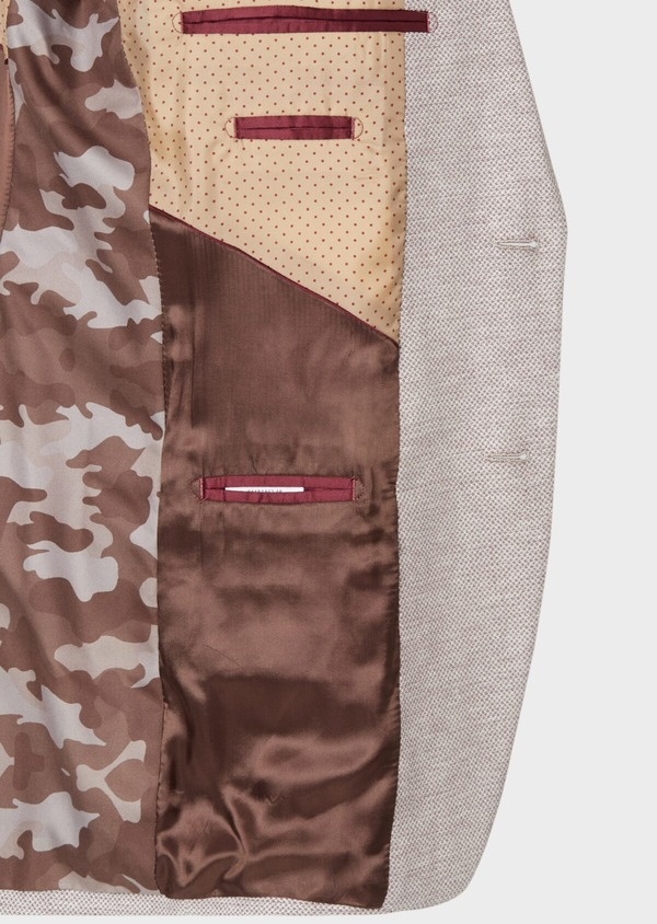 Veste coordonnable Regular en coton stretch et lin beige à motif fantaisie - Father and Sons 34072