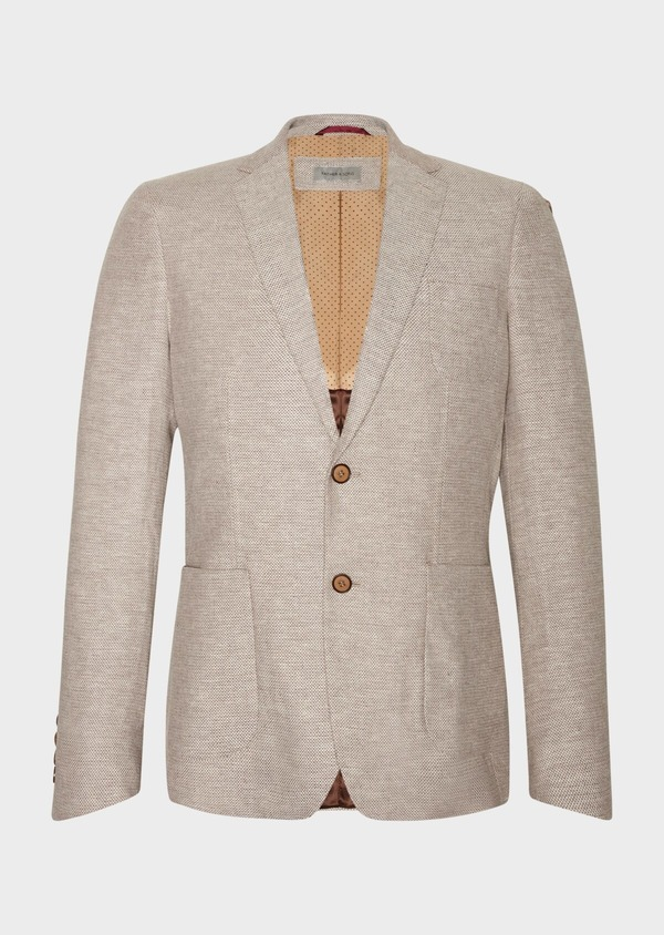 Veste coordonnable Regular en coton stretch et lin beige à motif fantaisie - Father and Sons 34066