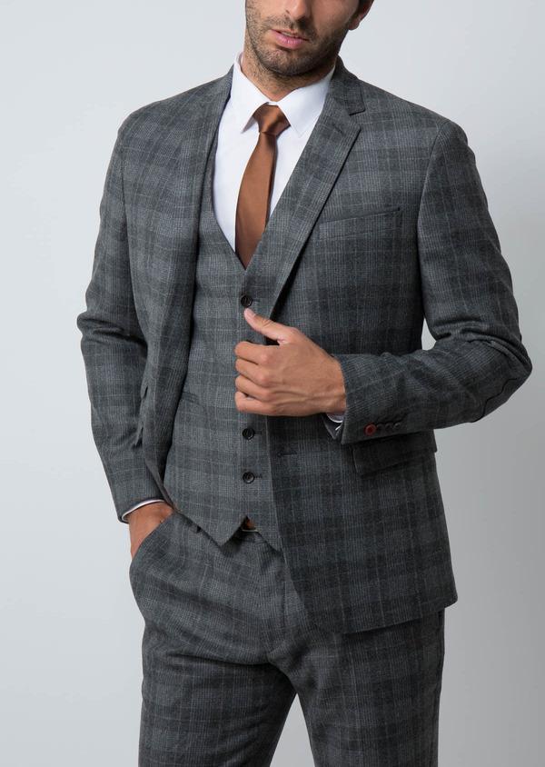 Veste casual Regular en laine mélangée grise Prince de Galles - Father and Sons 29131
