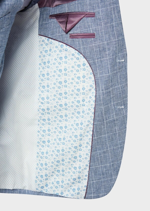 Veste coordonnable Regular en lin et coton bleu indigo Prince de Galles - Father and Sons 33647