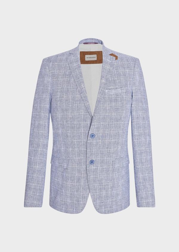 Veste coordonnable Regular en lin et coton bleu indigo Prince de Galles - Father and Sons 33641