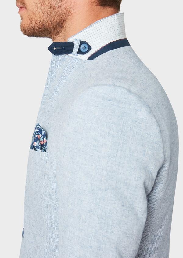 Veste coordonnable Regular en lin et coton uni bleu ciel - Father and Sons 33638