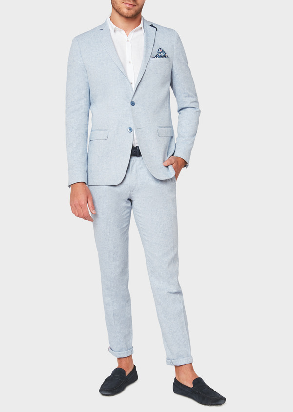 Veste coordonnable Regular en lin et coton uni bleu ciel - Father and Sons 33636