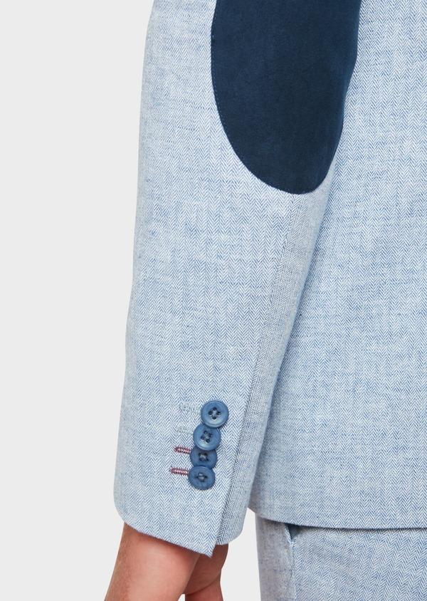 Veste coordonnable Regular en lin et coton uni bleu ciel - Father and Sons 33639